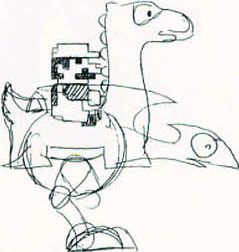 Early concept drawings of Yoshi, featuring an 8-bit Mario rider.