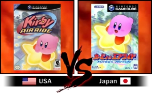 Kirby's design is often marketed different between Japan and America. As IGN has pointed out here, in Japan he's a happy go-lucky guy whereas in American he's battle ready all the time. That's not all. Kirby's colour was once a hot debate too, Sakurai always envisioned him to be pink, Miyamoto suggested Yellow and North America was originally given a white one to match the Game Boy's screen look.