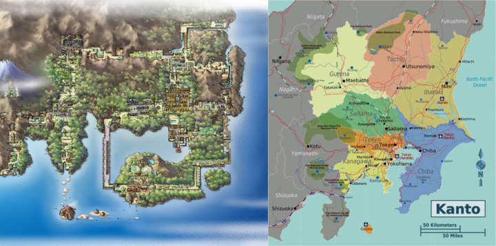 Kanto Maps Side by Side