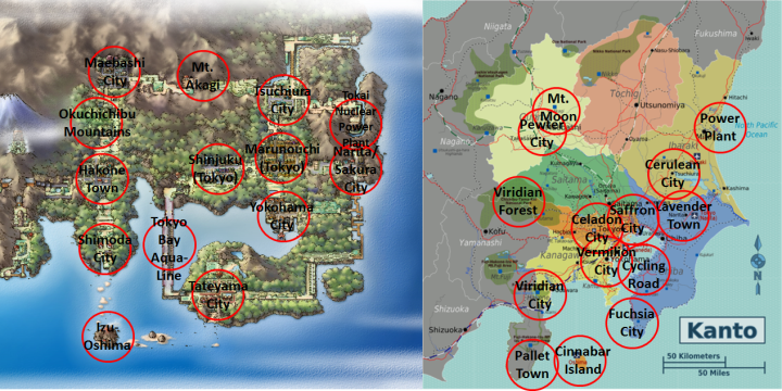 Marked Kanto Maps