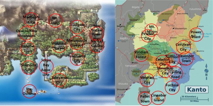 Marked Kanto Maps
